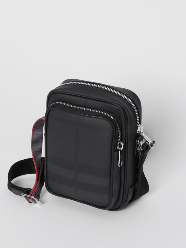 London Check and Leather Crossbody Bag in Dark Charcoal - Men | Burberry United Kingdom - cell image 3