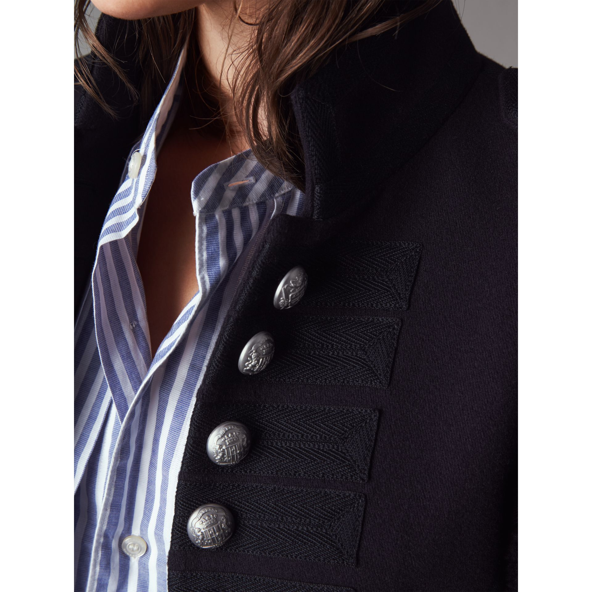 Shearling Trim Wool Blend Regimental Jacket in True Navy - Women | Burberry - gallery image 2