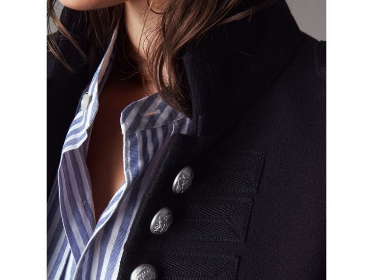 Shearling Trim Wool Blend Regimental Jacket in True Navy - Women | Burberry - cell image 1