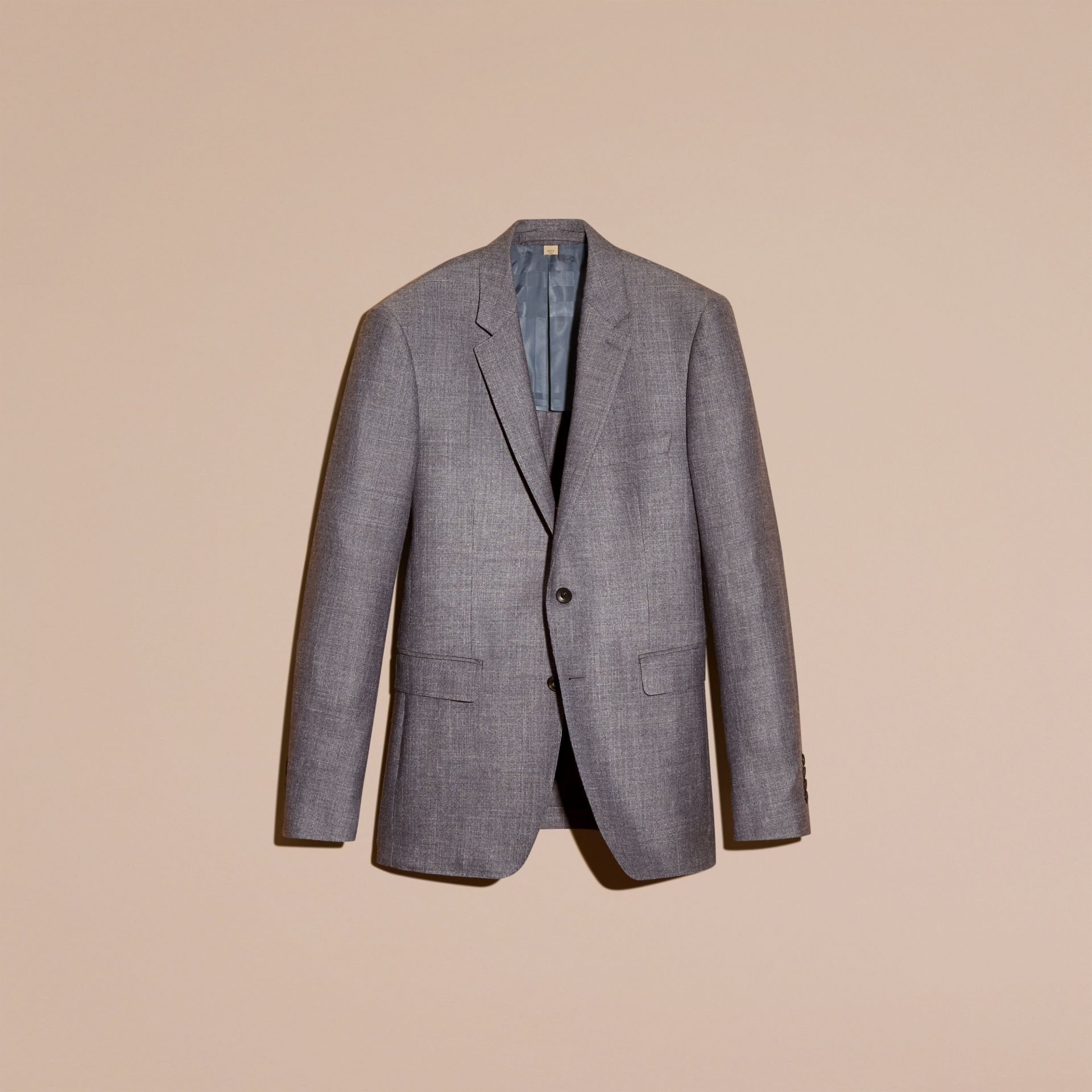 Airforce blue Slim Fit Wool Silk Linen Jacket - gallery image 4