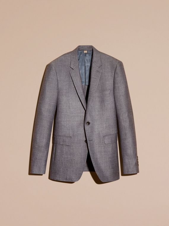 Airforce blue Slim Fit Wool Silk Linen Jacket - cell image 3