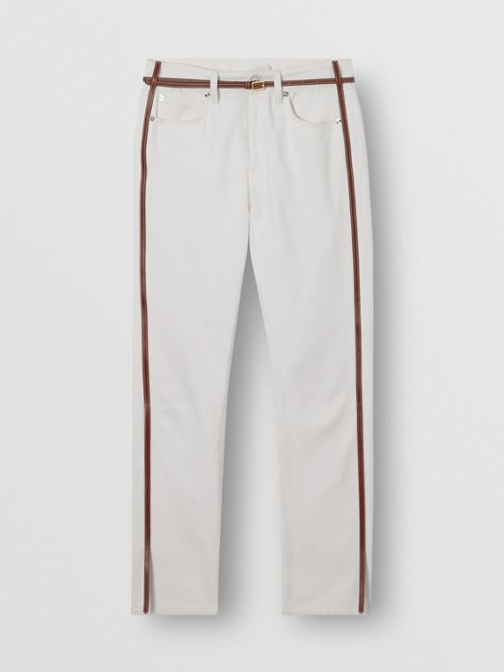 Straight Fit Leather Harness Detail Jeans in Off White