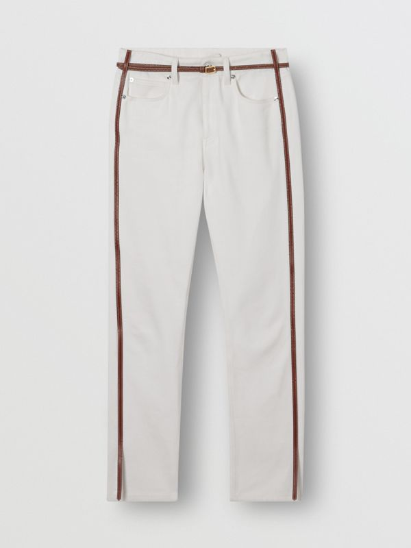 Straight Fit Leather Harness Detail Jeans in Off White - Women | Burberry Canada - cell image 3