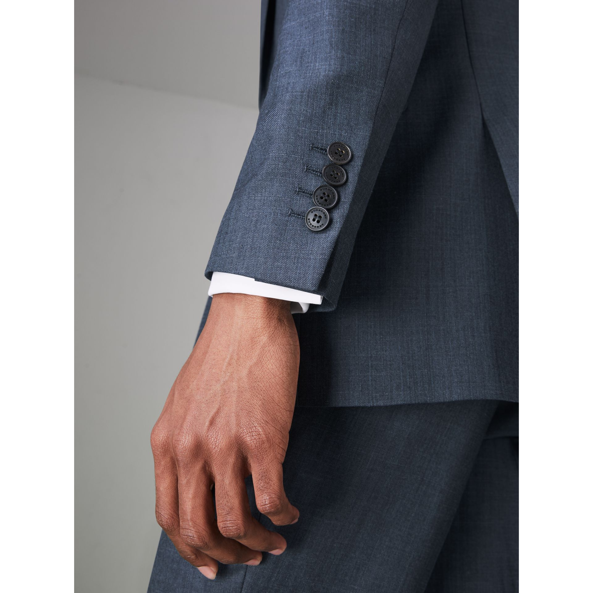 Slim Fit Wool Silk Linen Suit in Bright Navy - Men | Burberry Canada - gallery image 4