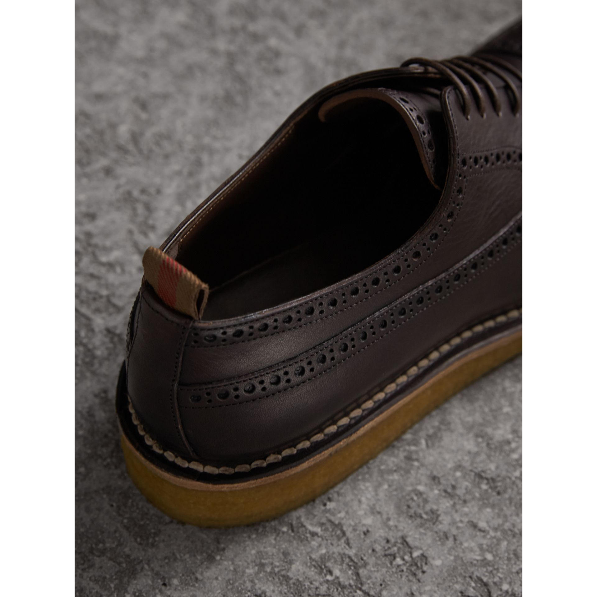 Raised Toe-cap Leather Brogues in Ebony - Men | Burberry - gallery image 2