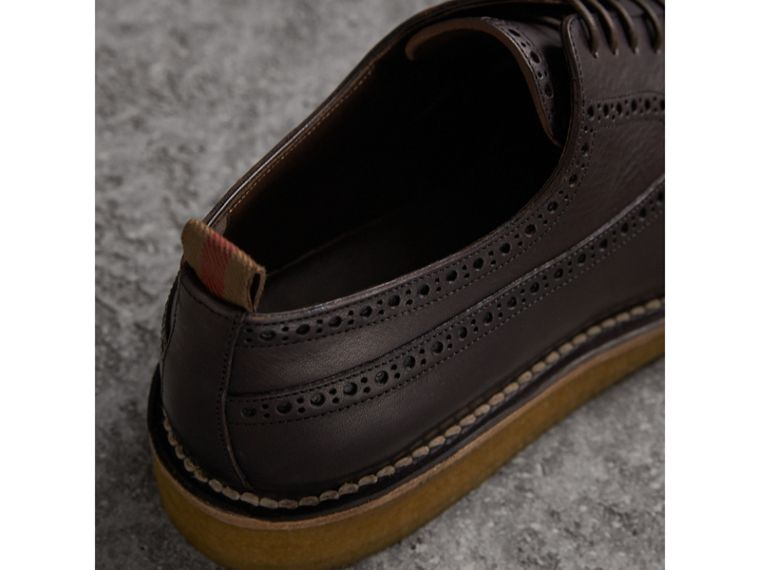 Raised Toe-cap Leather Brogues in Ebony - Men | Burberry - cell image 1