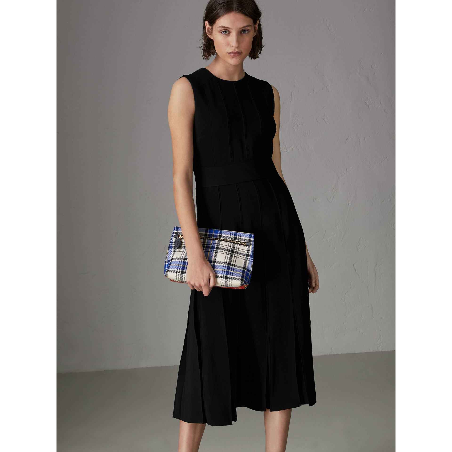 Sleeveless Pleat Detail Georgette Dress in Black - Women | Burberry - gallery image 0