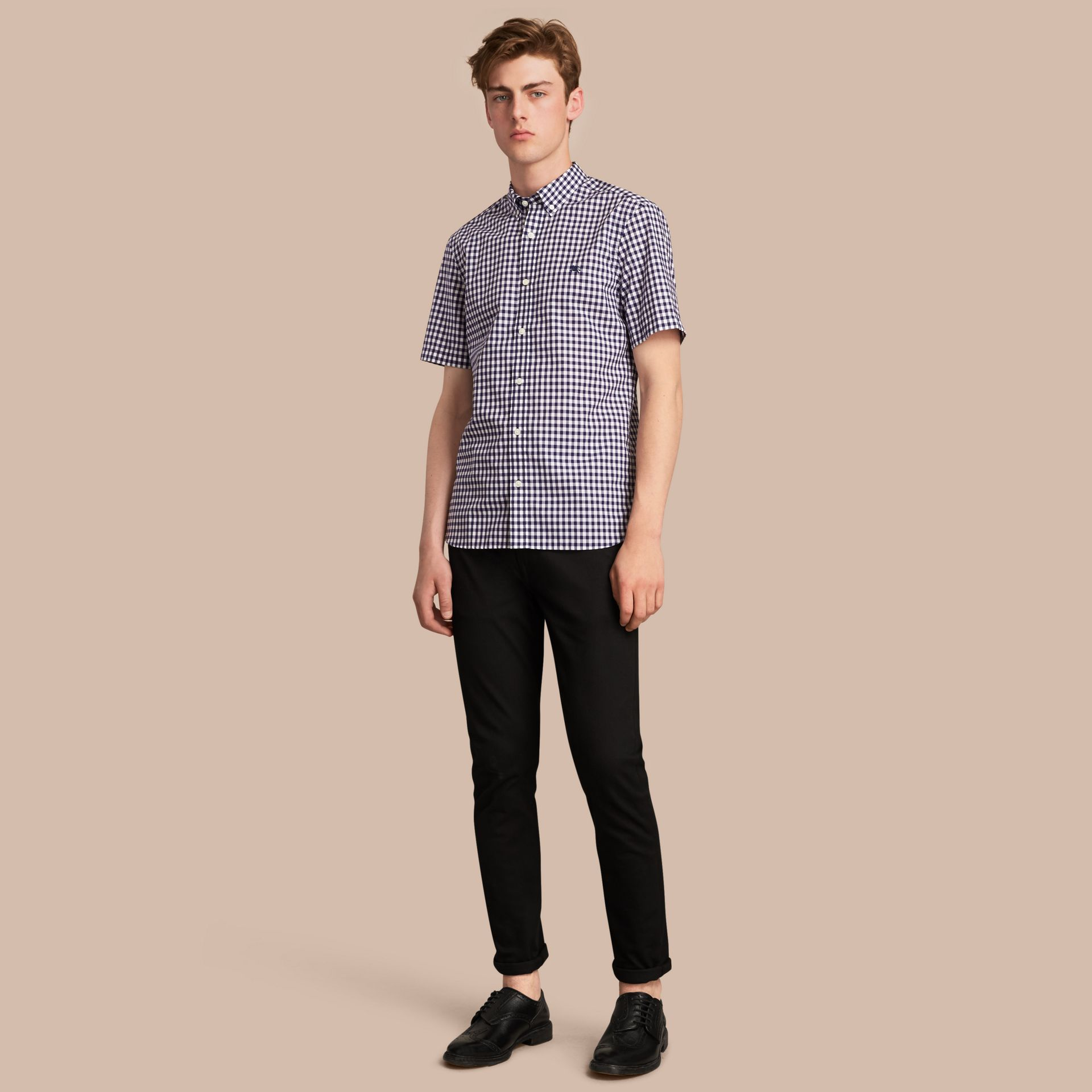Short-sleeve Button-down Collar Cotton Gingham Shirt in Navy - Men | Burberry - gallery image 1