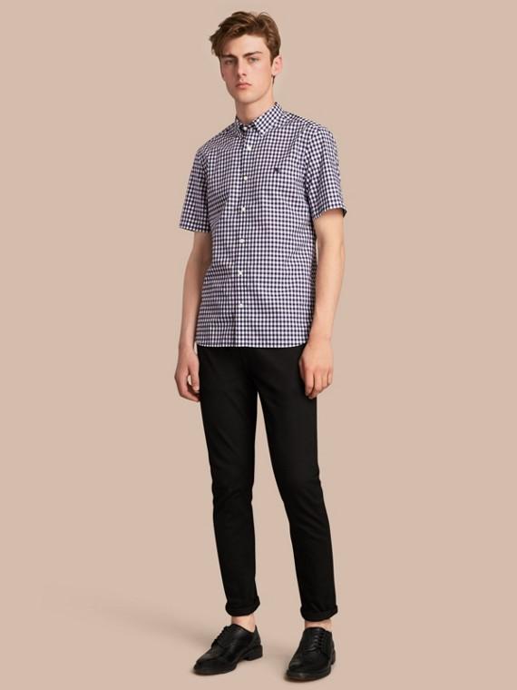 Camisa en algodón a cuadros vichy con cuello abotonado y manga corta (Azul Marino)