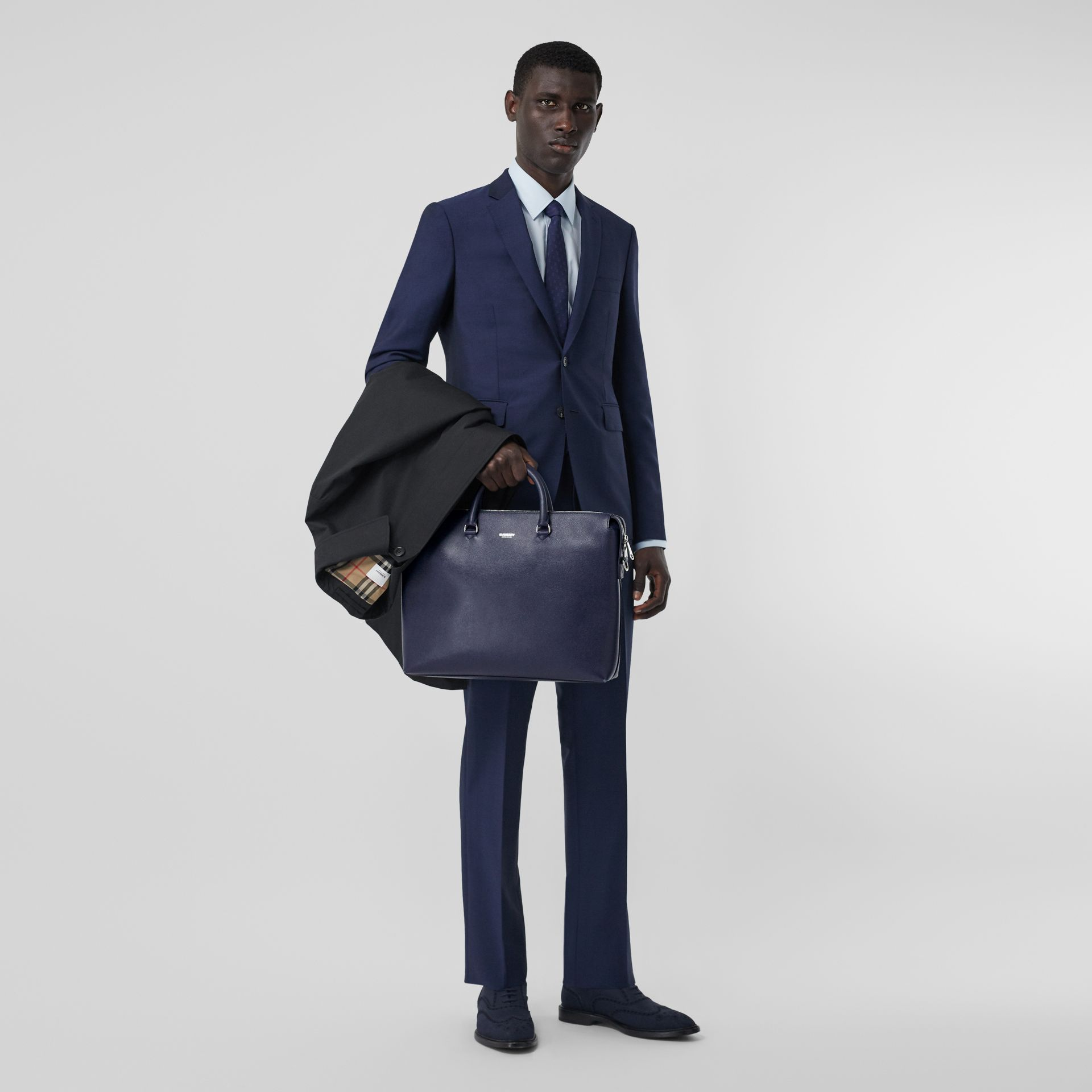 Triple Stud Grainy Leather Briefcase in Regency Blue - Men | Burberry - gallery image 5