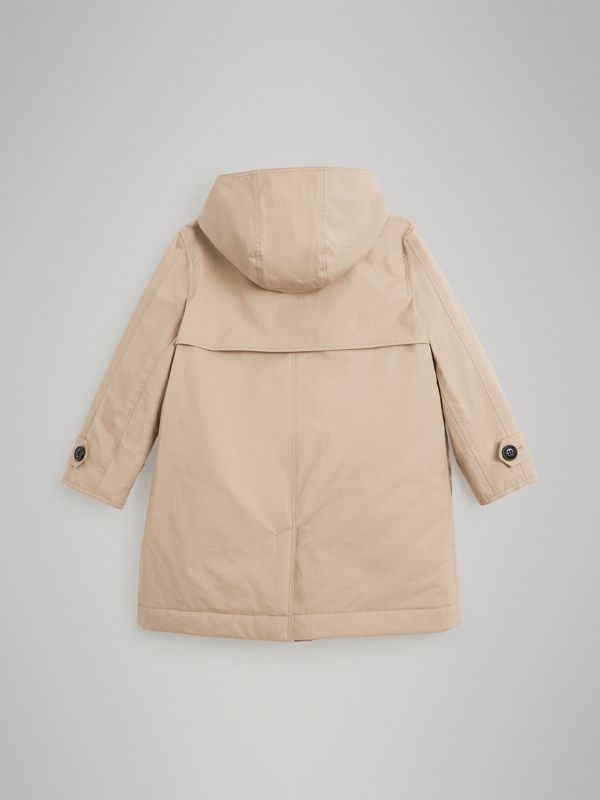 Detachable Hood Cotton Car Coat in Honey | Burberry - cell image 3