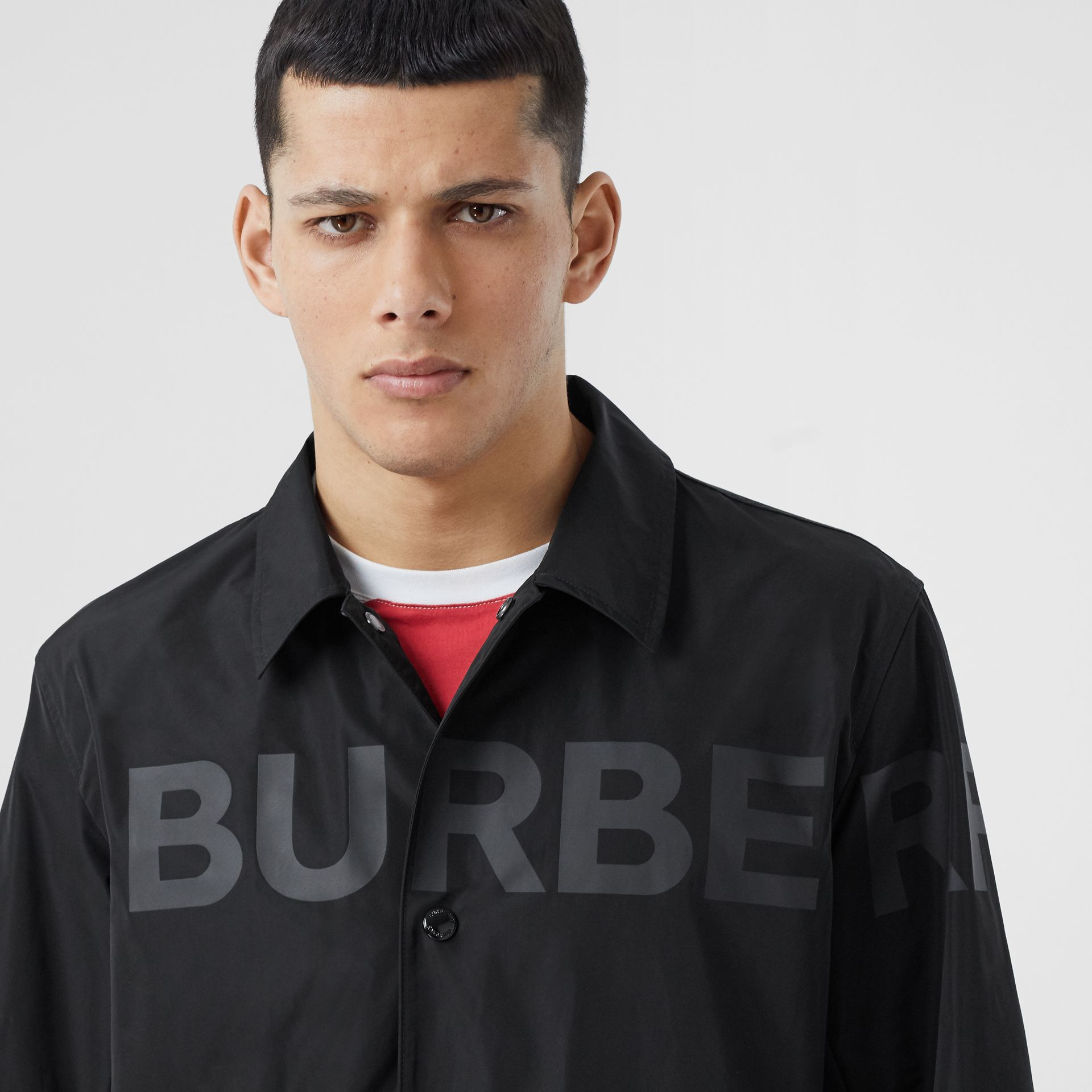 Detachable Hood Shape-memory Taffeta Jacket in Black - Men | Burberry - gallery image 1