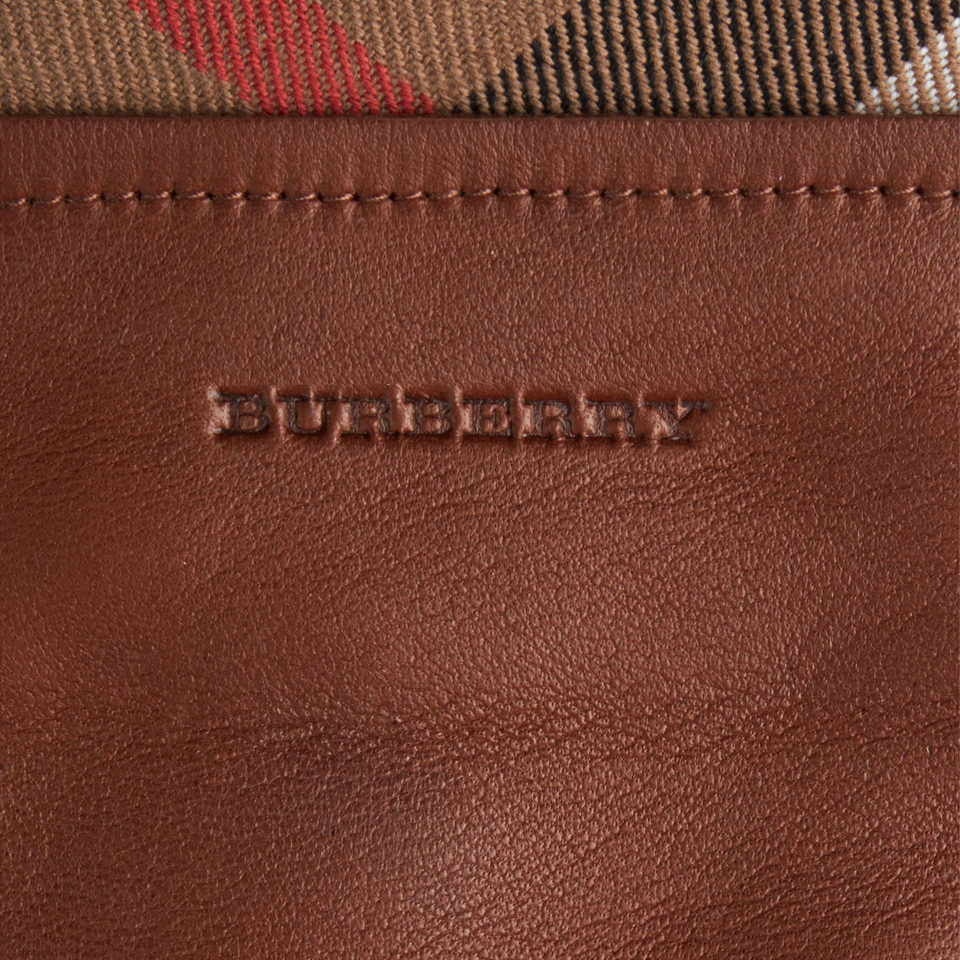 Check Trim Leather Touch Screen Gloves in Saddle Brown - Women | Burberry - gallery image 2