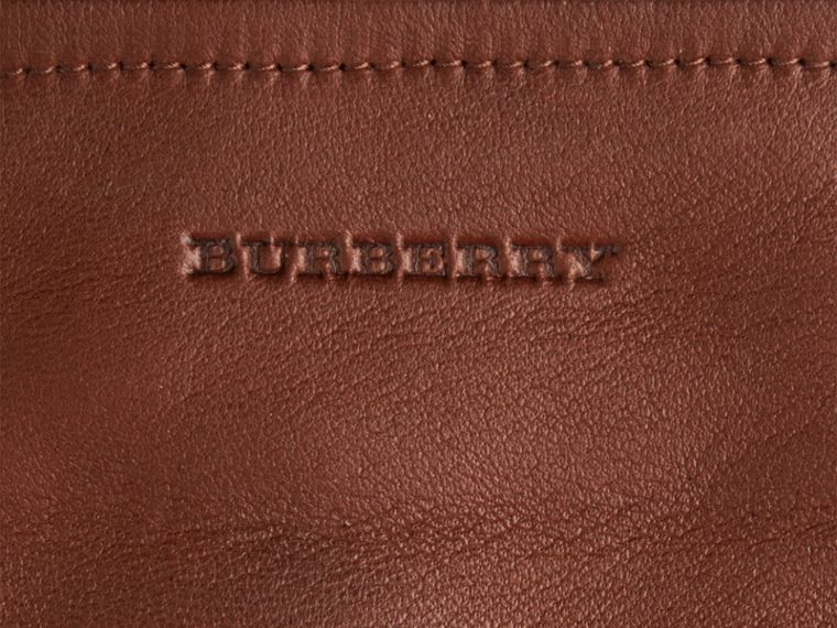 Check Trim Leather Touch Screen Gloves in Saddle Brown - Women | Burberry - cell image 1