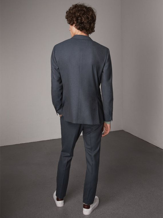 Soho Fit Wool Flannel Suit in Petrol Blue Melange - Men | Burberry - cell image 2