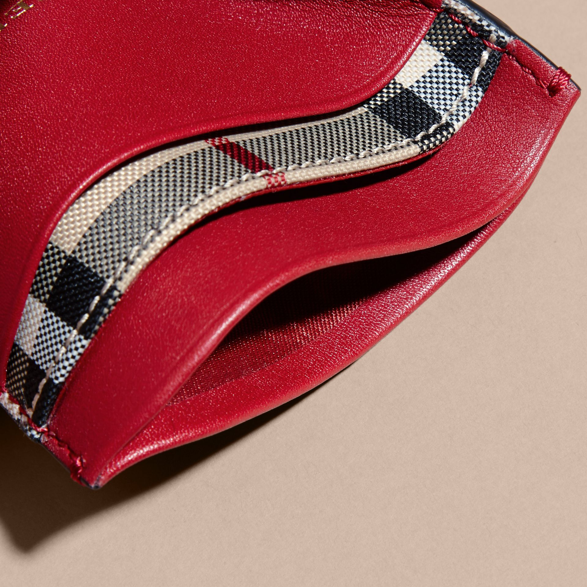 Check and Leather Card Case in Parade Red - Women | Burberry - gallery image 5
