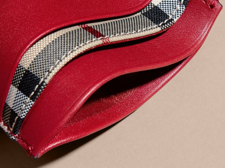 Check and Leather Card Case in Parade Red - Women | Burberry Canada - cell image 4