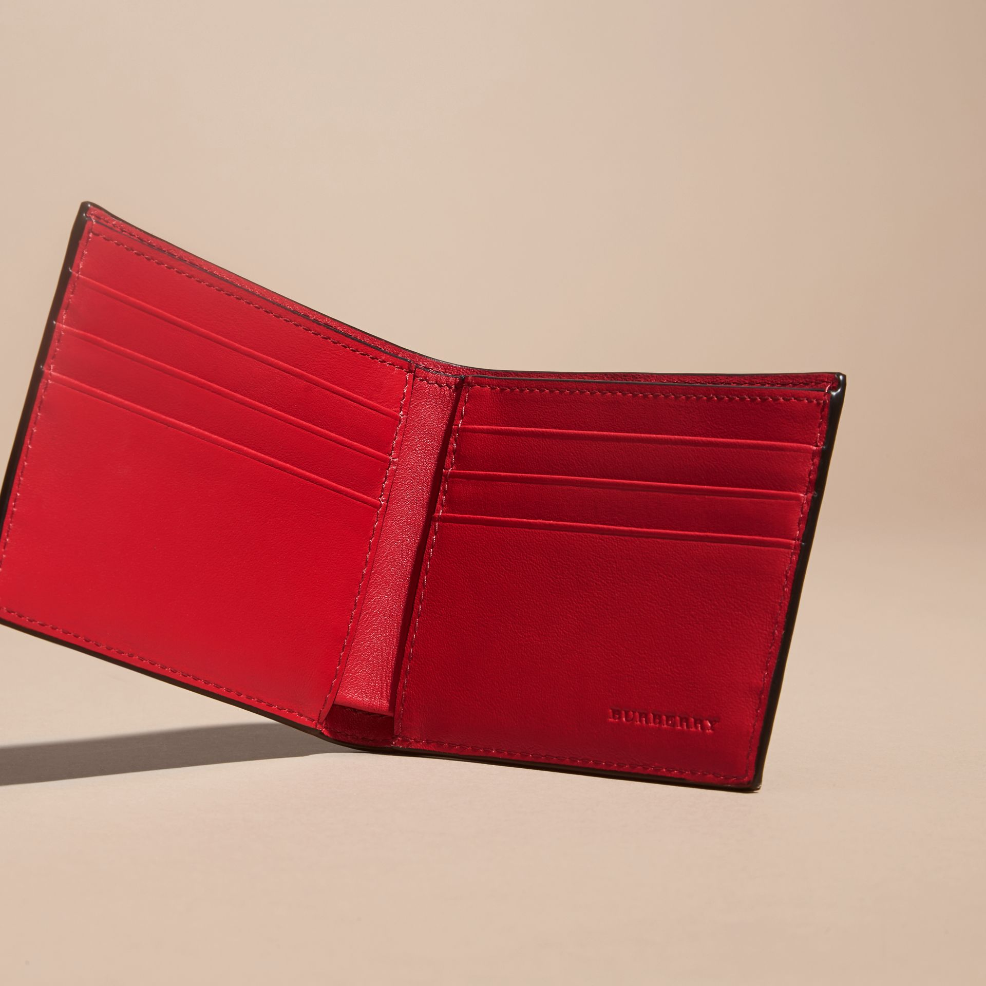London Check and Leather Bifold Wallet Parade Red - gallery image 5