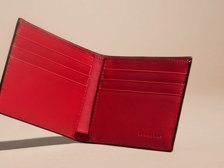 London Check and Leather Bifold Wallet in Parade Red - Men | Burberry - cell image 4