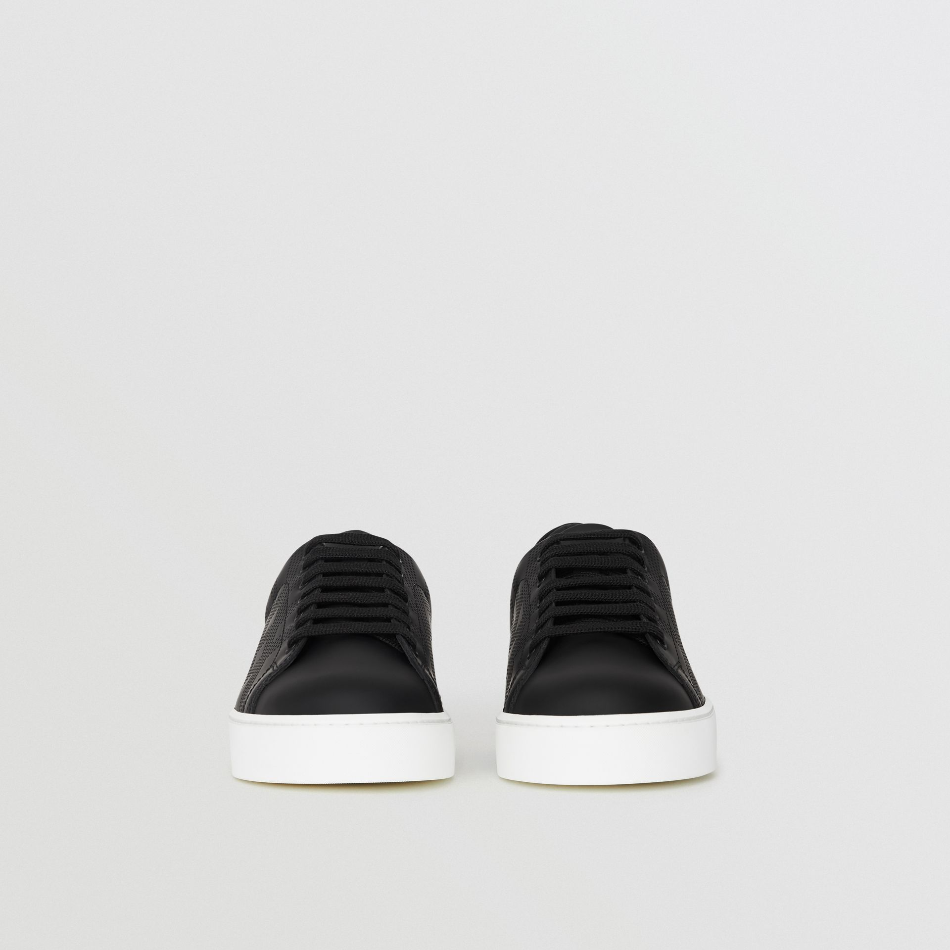 Perforated Check Leather Sneakers in Black - Women | Burberry United Kingdom - gallery image 4