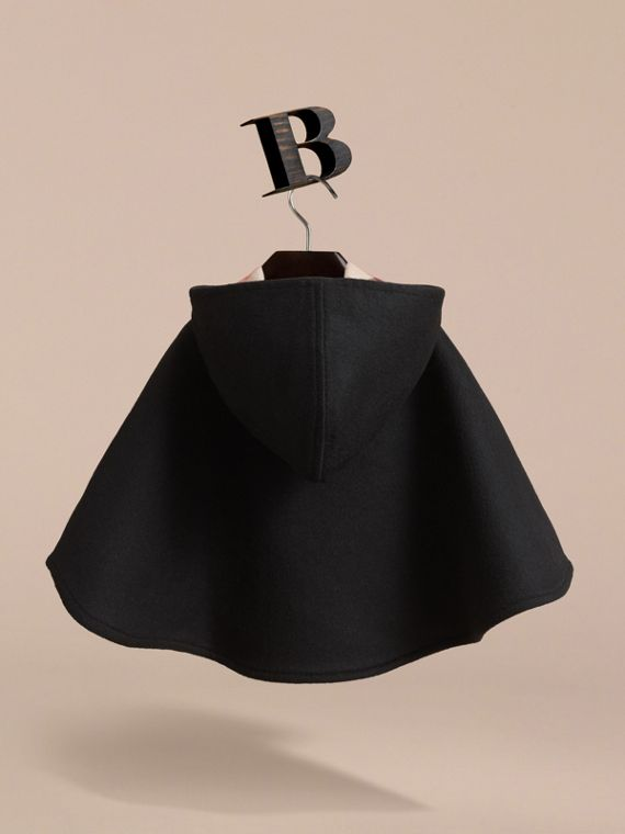 Hooded Check Detail Wool A-line Cape in Black - Girl | Burberry - cell image 3