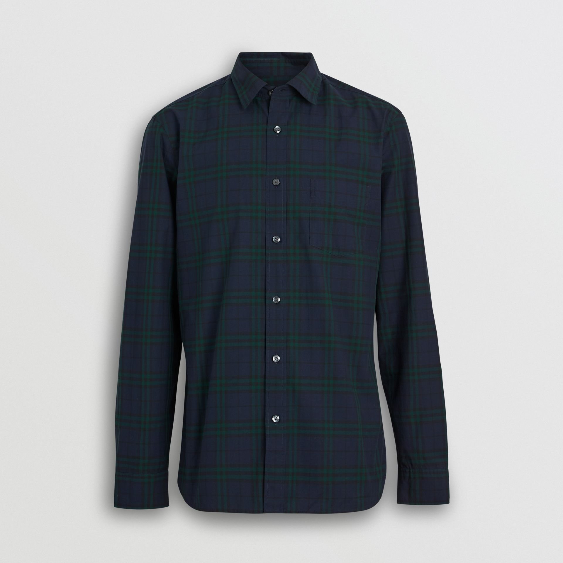 Check Cotton Shirt in Ink Blue - Men | Burberry - gallery image 3