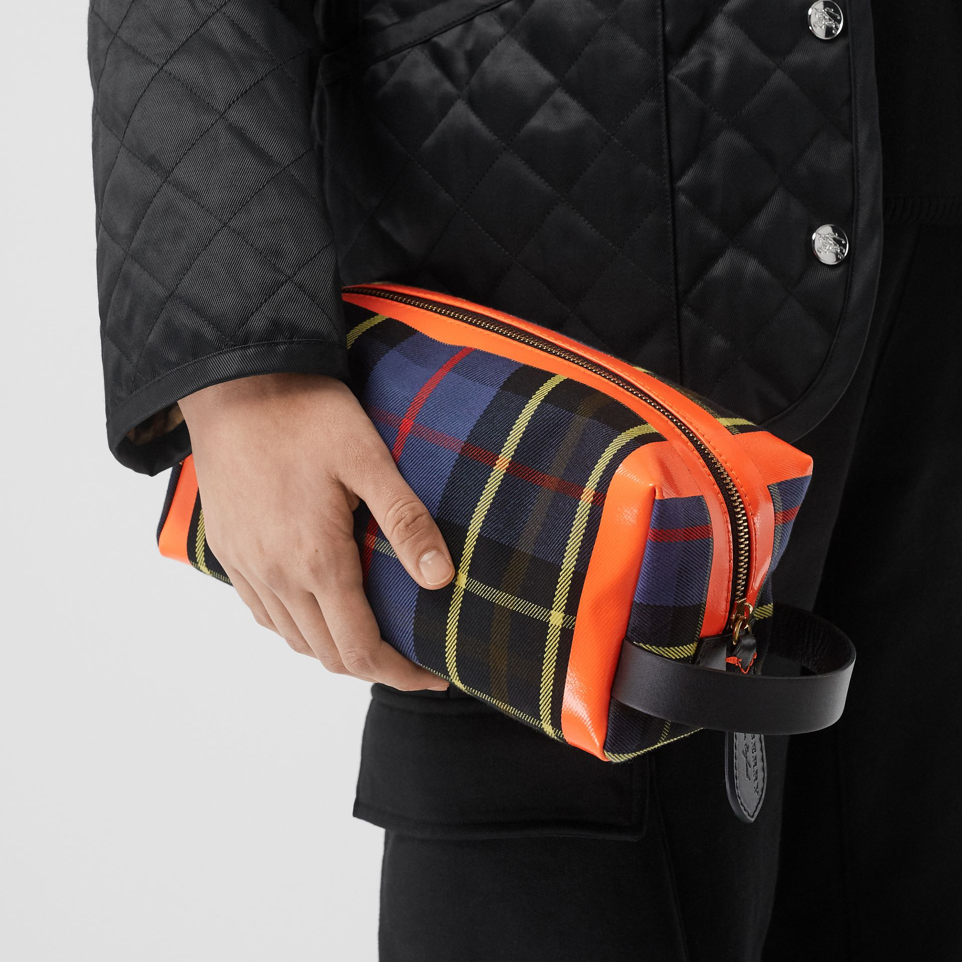 Tartan Cotton Pouch in Cobalt | Burberry - gallery image 2