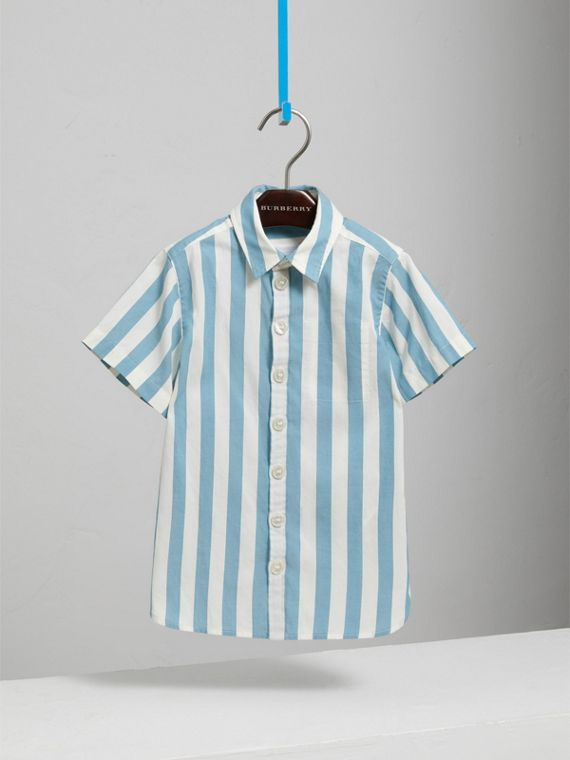 Short-sleeve Striped Cotton Shirt in Pale Opal