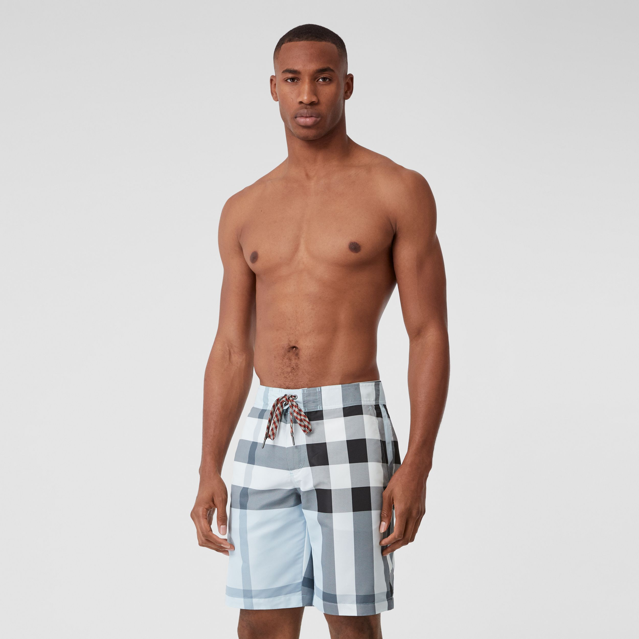 Check Swim Shorts in Chalk Blue - Men | Burberry - 1