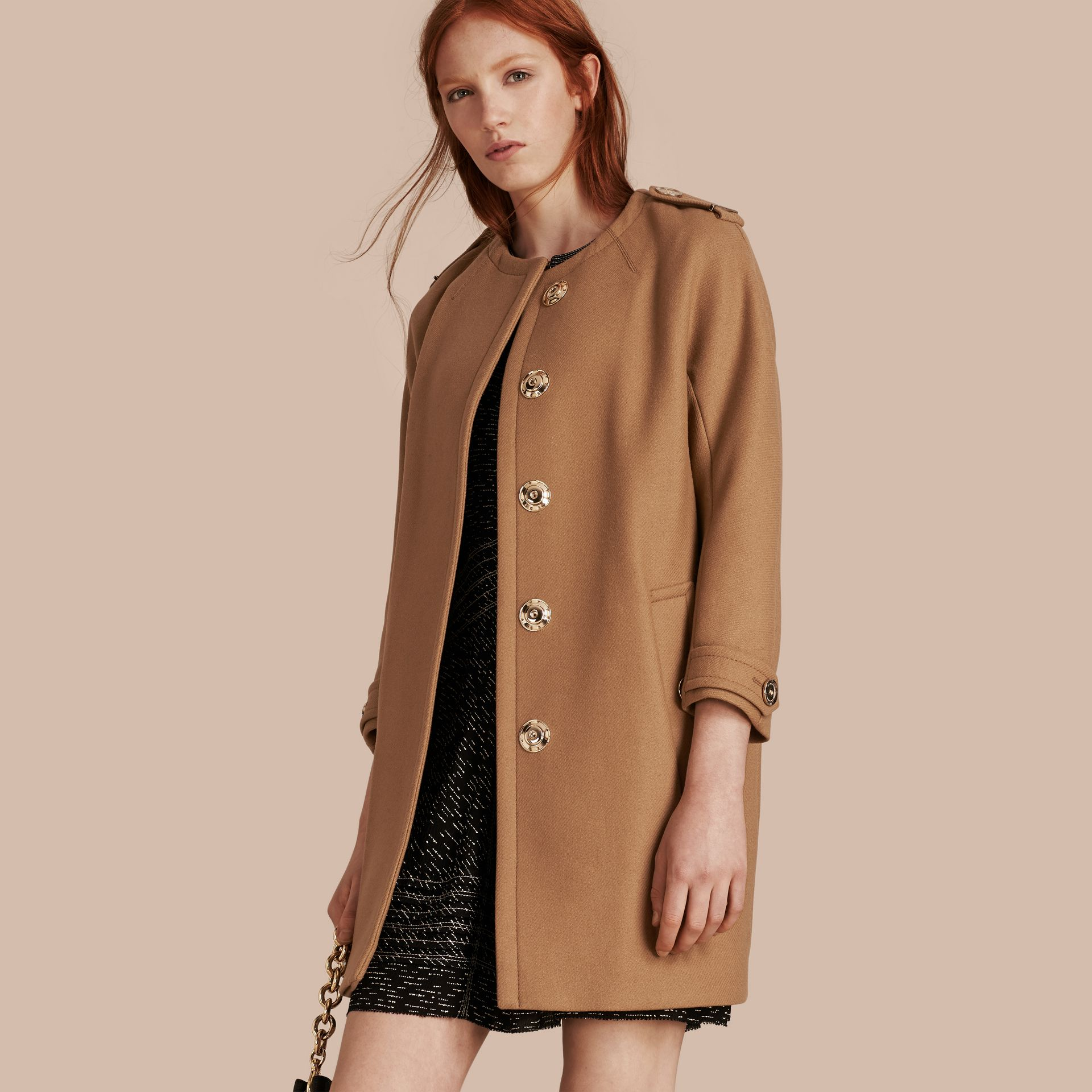 Camel Technical Wool Cashmere Blend Collarless Coat - gallery image 1
