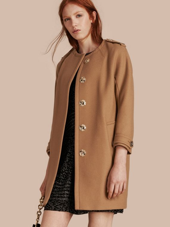 Technical Wool Cashmere Blend Collarless Coat