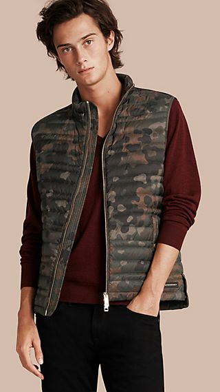 Down-filled Camouflage Print Gilet