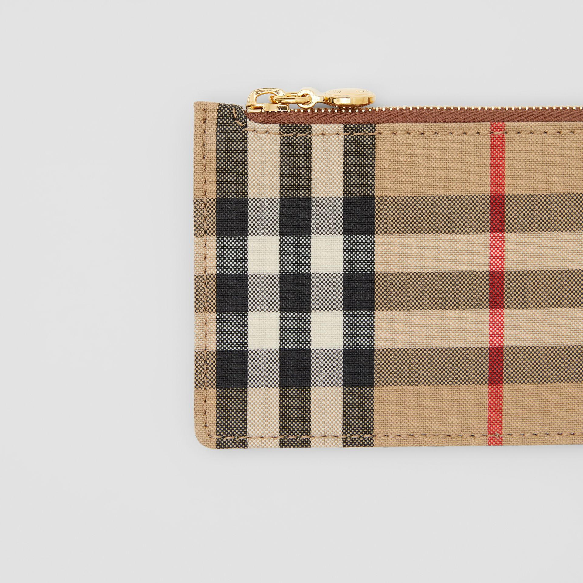 Vintage Check and Leather Zip Card Case in Tan - Women | Burberry Hong Kong S.A.R - gallery image 1