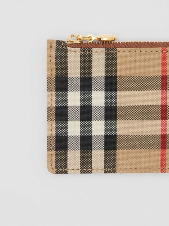 Vintage Check and Leather Zip Card Case in Tan - Women | Burberry Hong Kong S.A.R - cell image 1