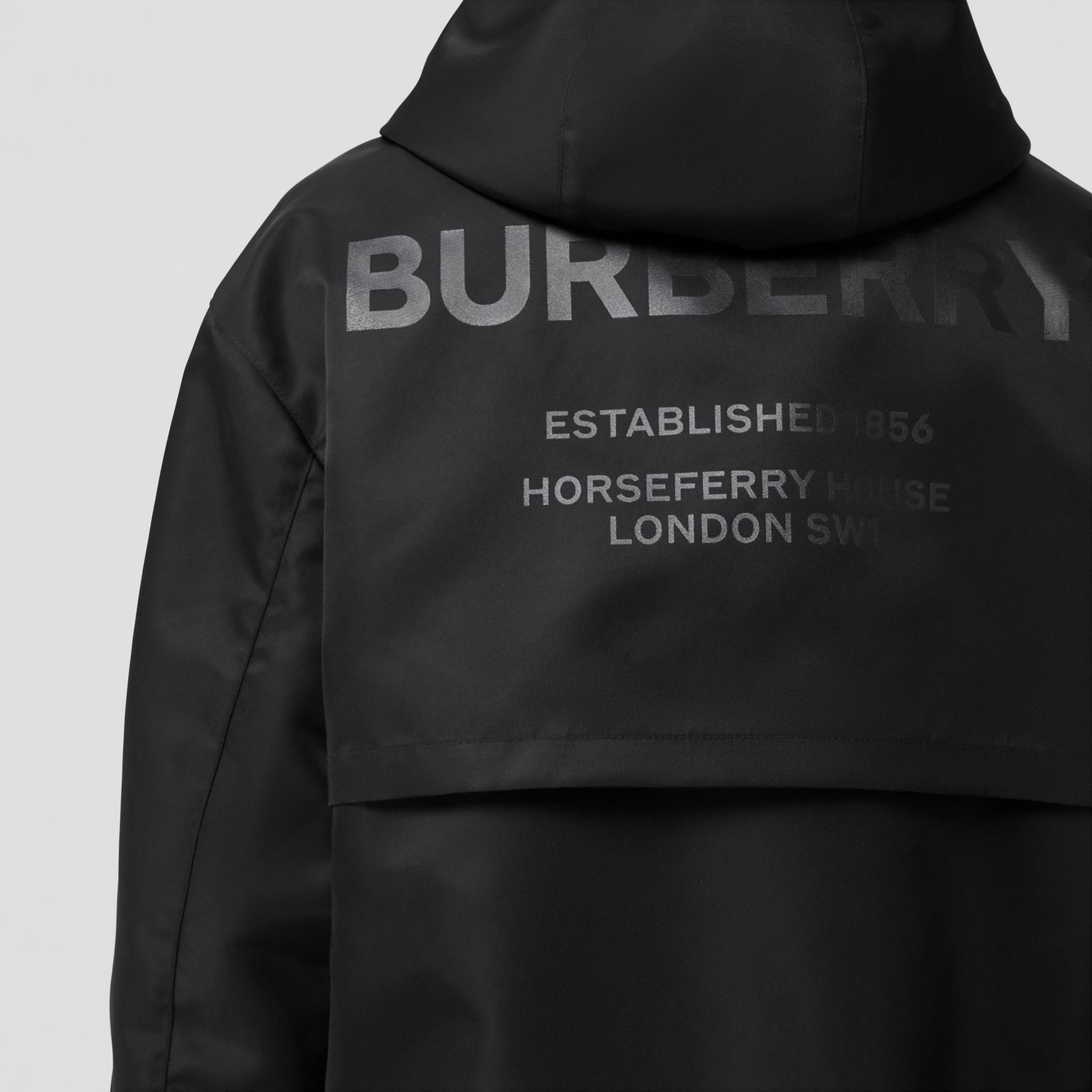 Horseferry Print Nylon Twill Parka in Black - Women | Burberry - gallery image 1