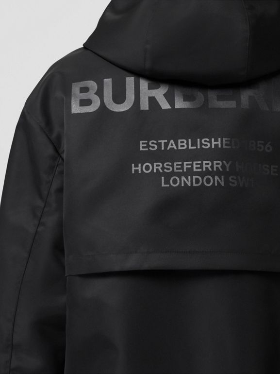 Horseferry Print Nylon Twill Parka in Black - Women | Burberry United Kingdom - cell image 1