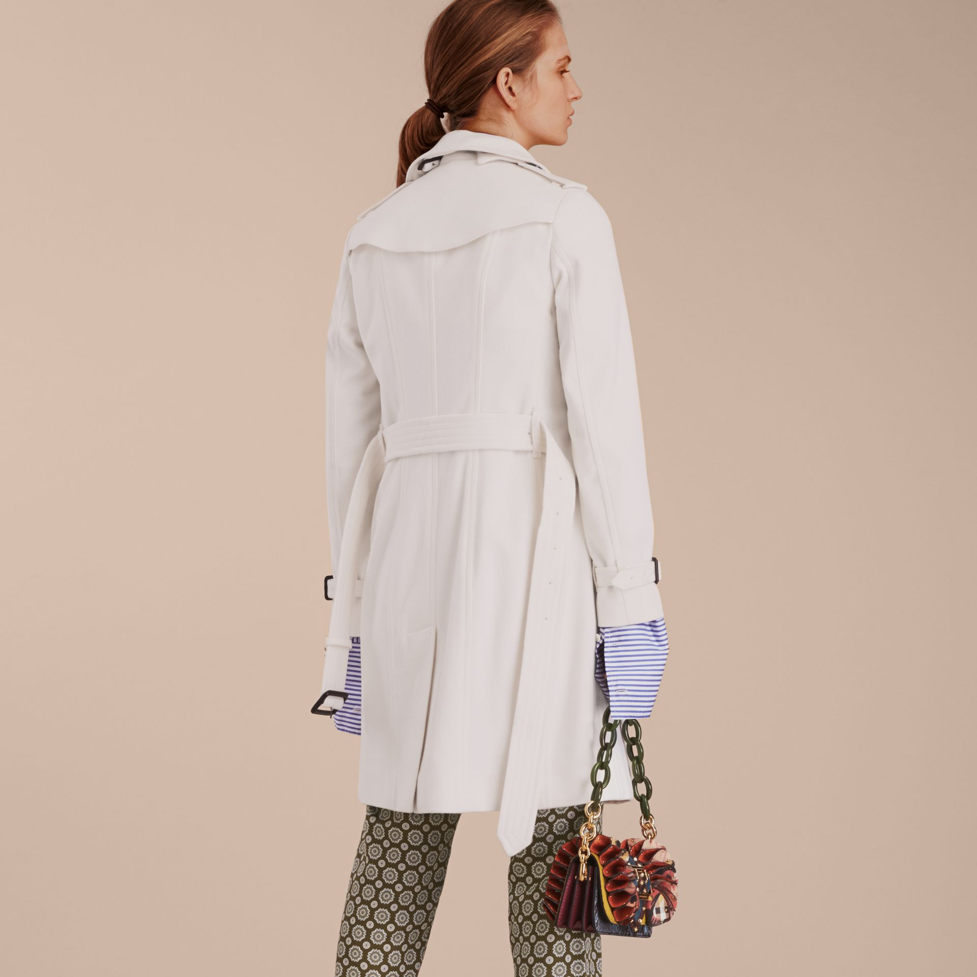 White Sandringham Fit Cashmere Trench Coat White - gallery image 2