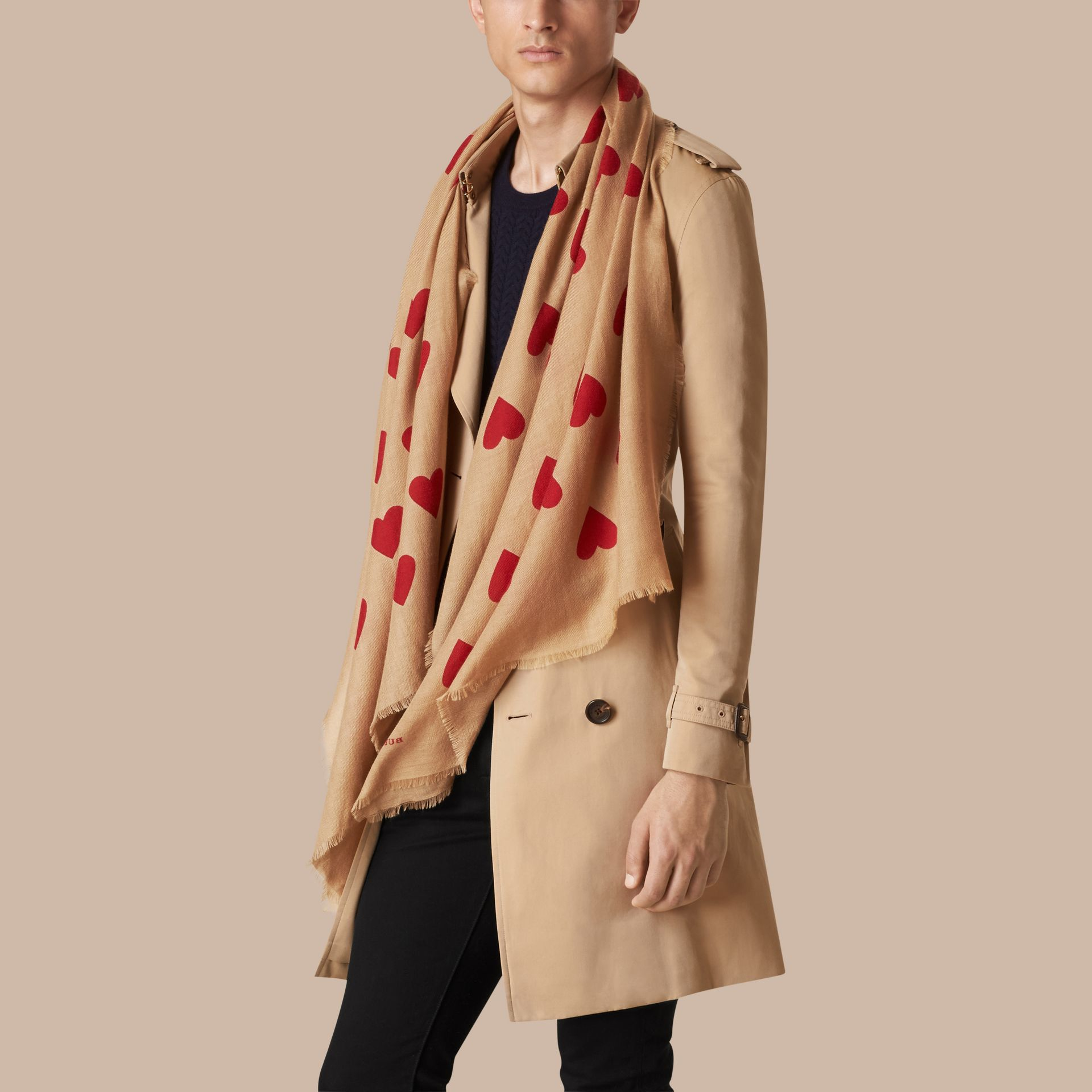 Camel/parade red The Lightweight Cashmere Scarf in Heart Print Camel/parade Red - gallery image 4