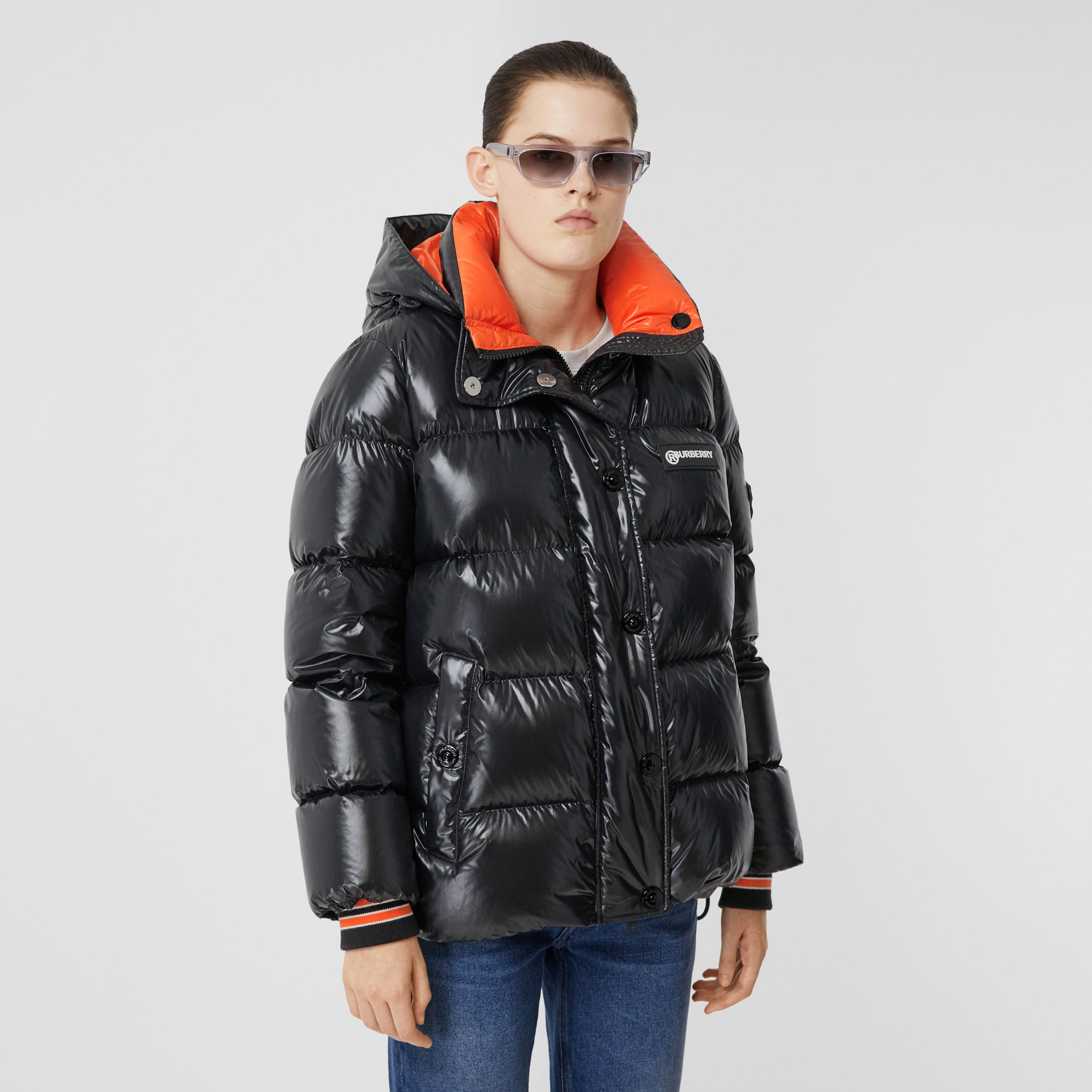 Detachable Hood Logo Graphic Puffer Jacket in Black - Women | Burberry - 1