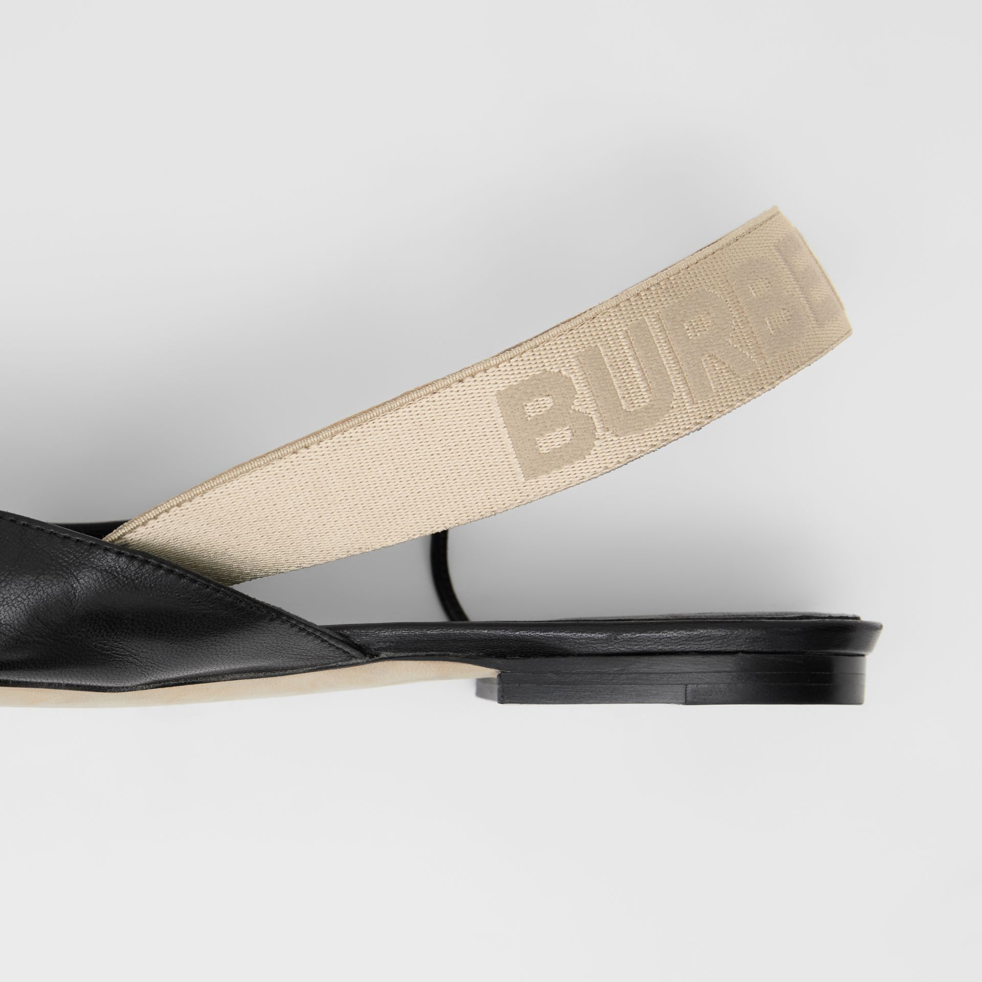Logo Detail Leather Slingback Flats in Black - Women | Burberry - gallery image 1