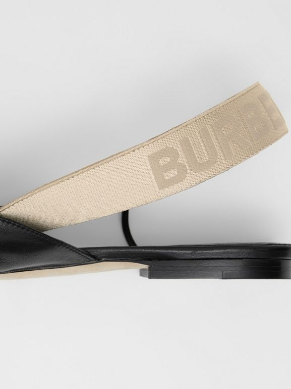 Logo Detail Leather Slingback Flats in Black - Women | Burberry - cell image 1