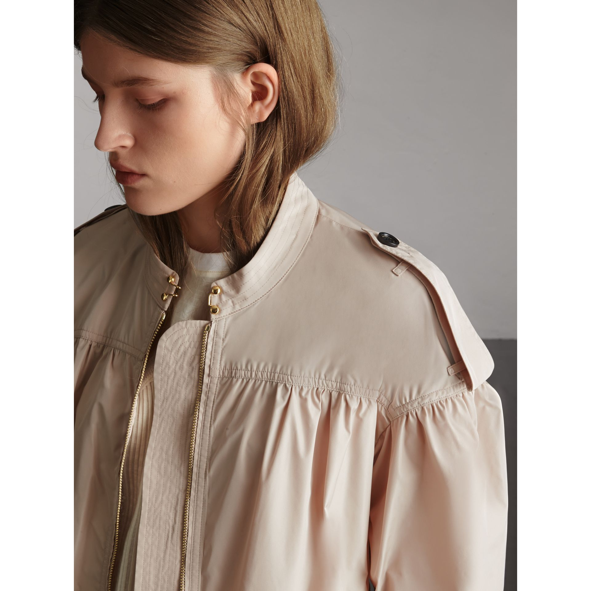 Lightweight Ruched Coat in Antique Taupe Pink - Women | Burberry Singapore - gallery image 5