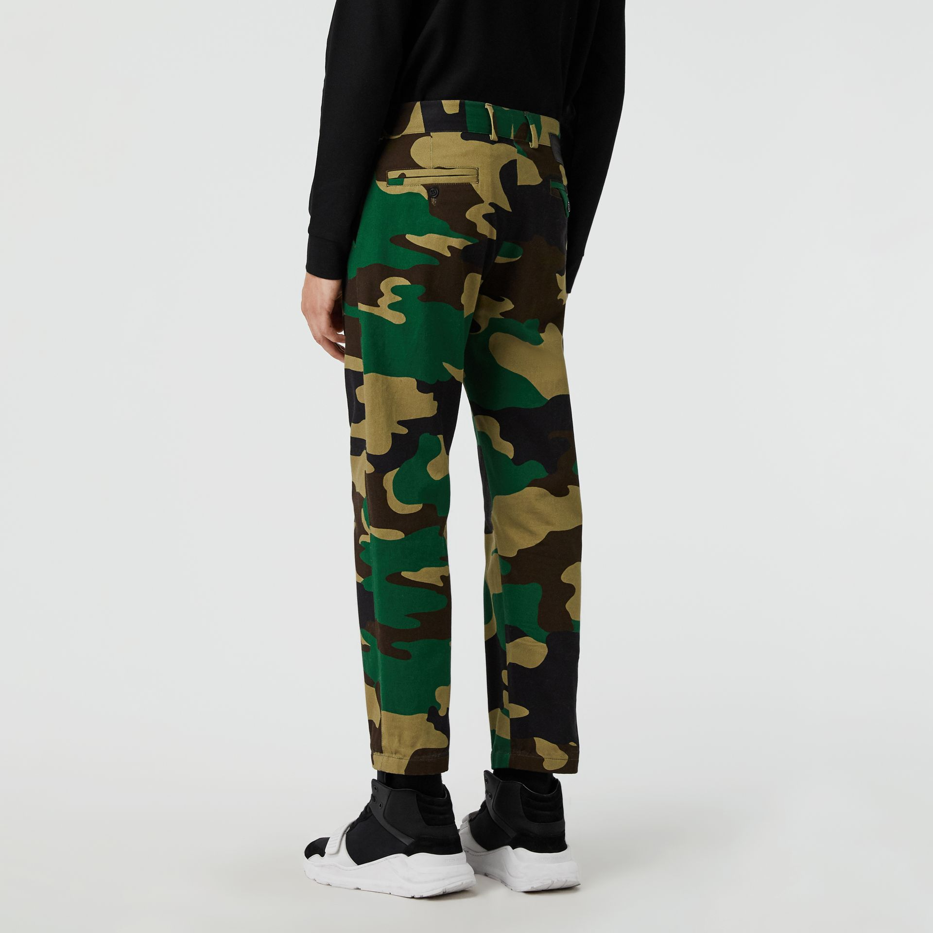 Slim Fit Camouflage Print Cotton Chinos in Forest Green - Men | Burberry - gallery image 2