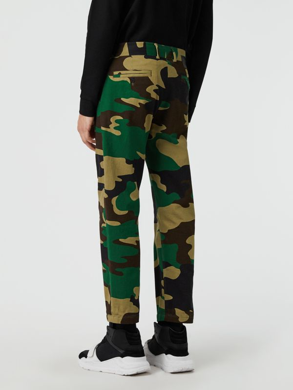Slim Fit Camouflage Print Cotton Chinos in Forest Green - Men | Burberry - cell image 2