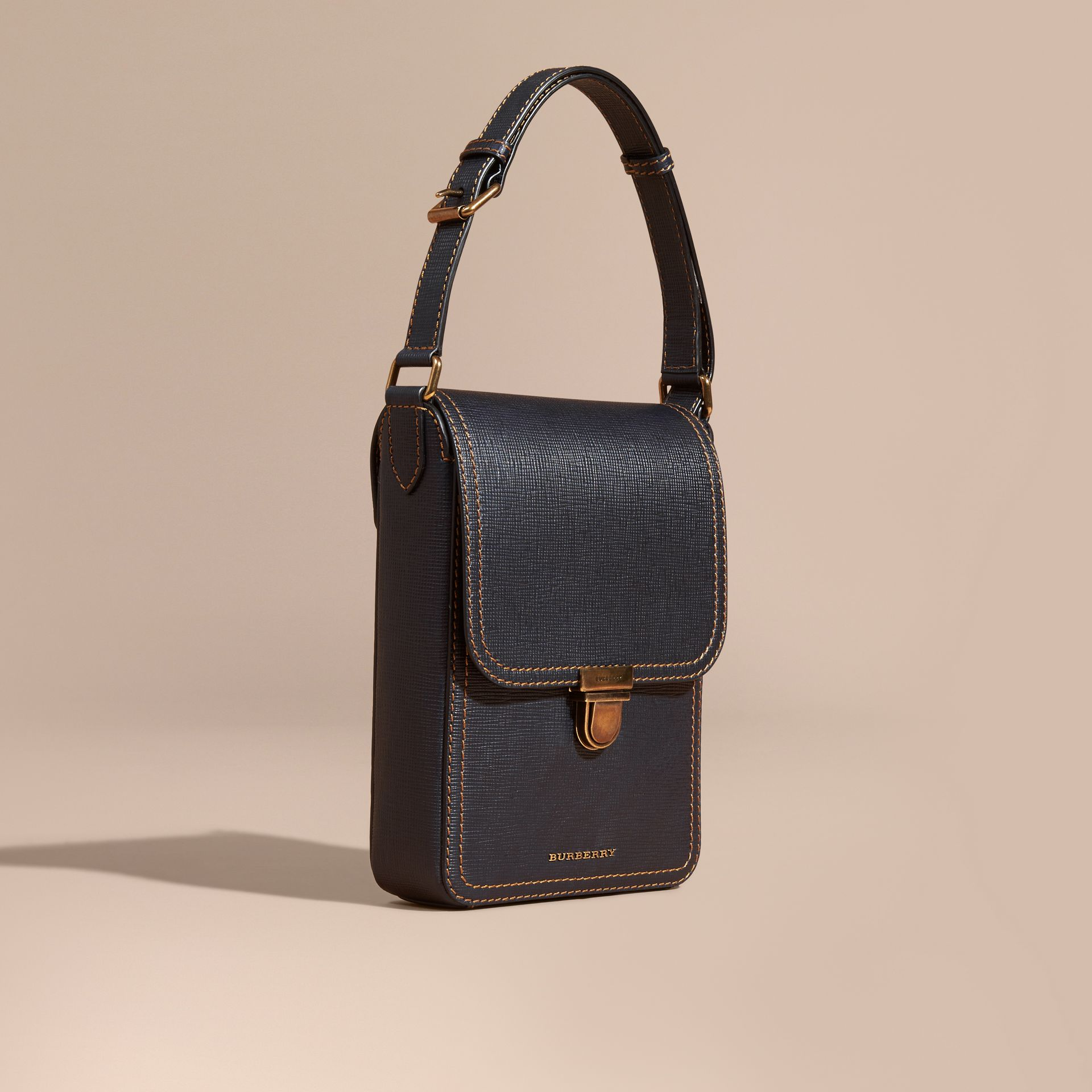 Dark navy The Small Satchel in Textured Leather - gallery image 1