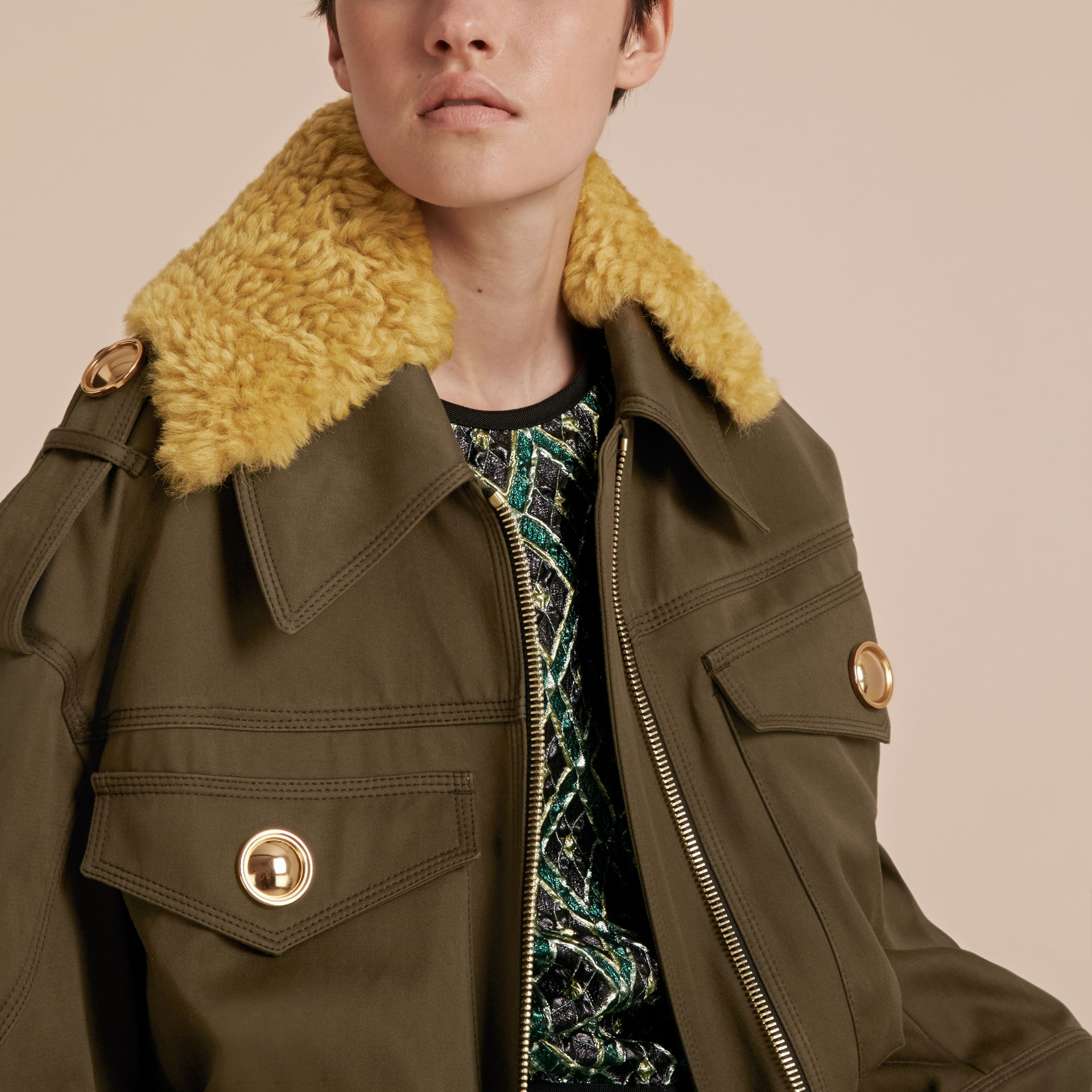 Military green Cotton Field Jacket With Shearling Collar - gallery image 5