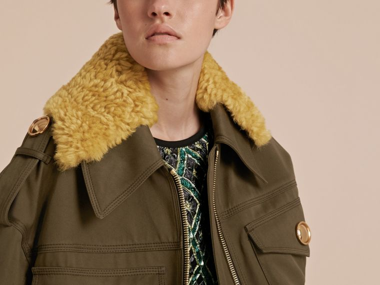 Military green Cotton Field Jacket With Shearling Collar - cell image 4