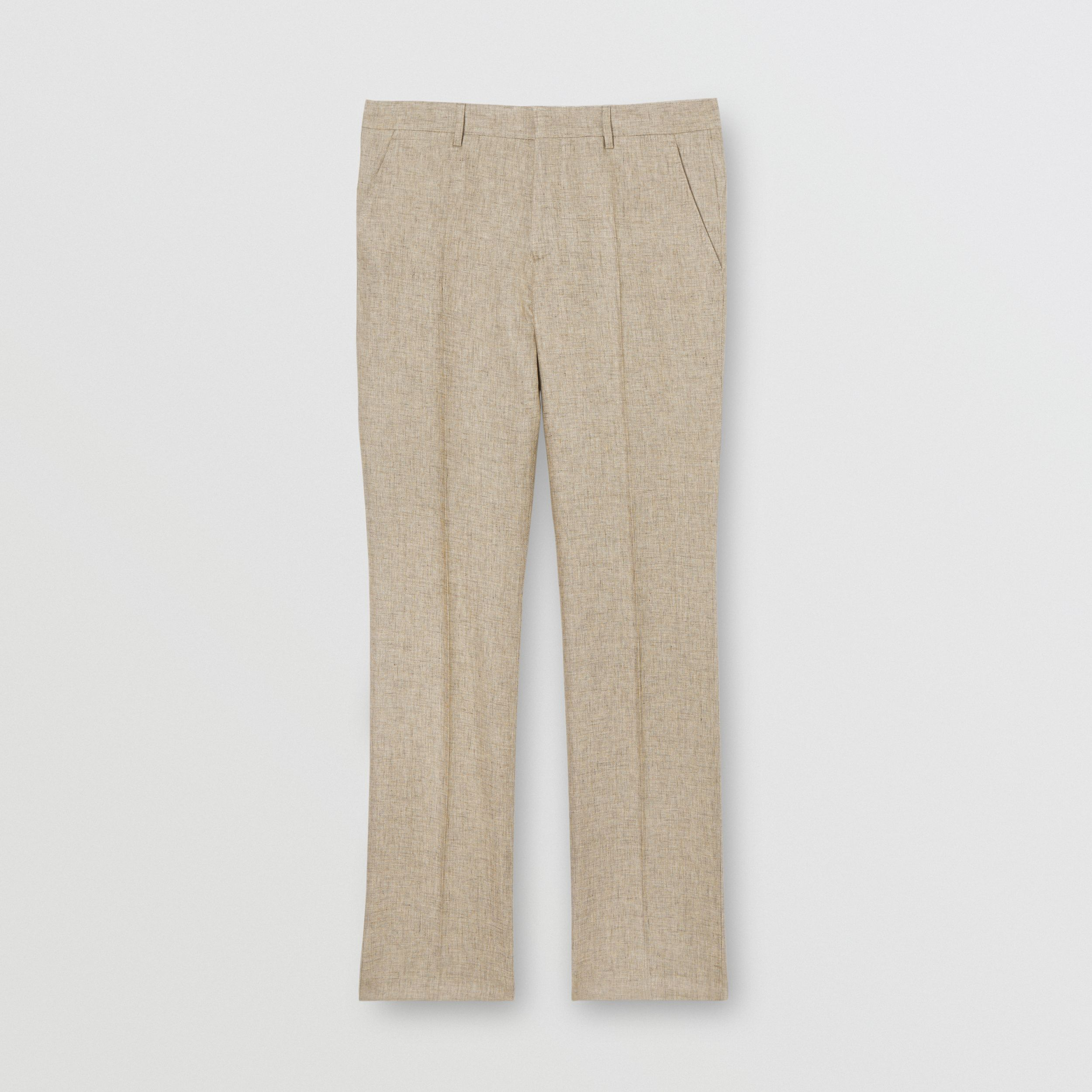 Classic Fit Linen Tailored Trousers in Cedar Brown Melange - Men | Burberry - 4