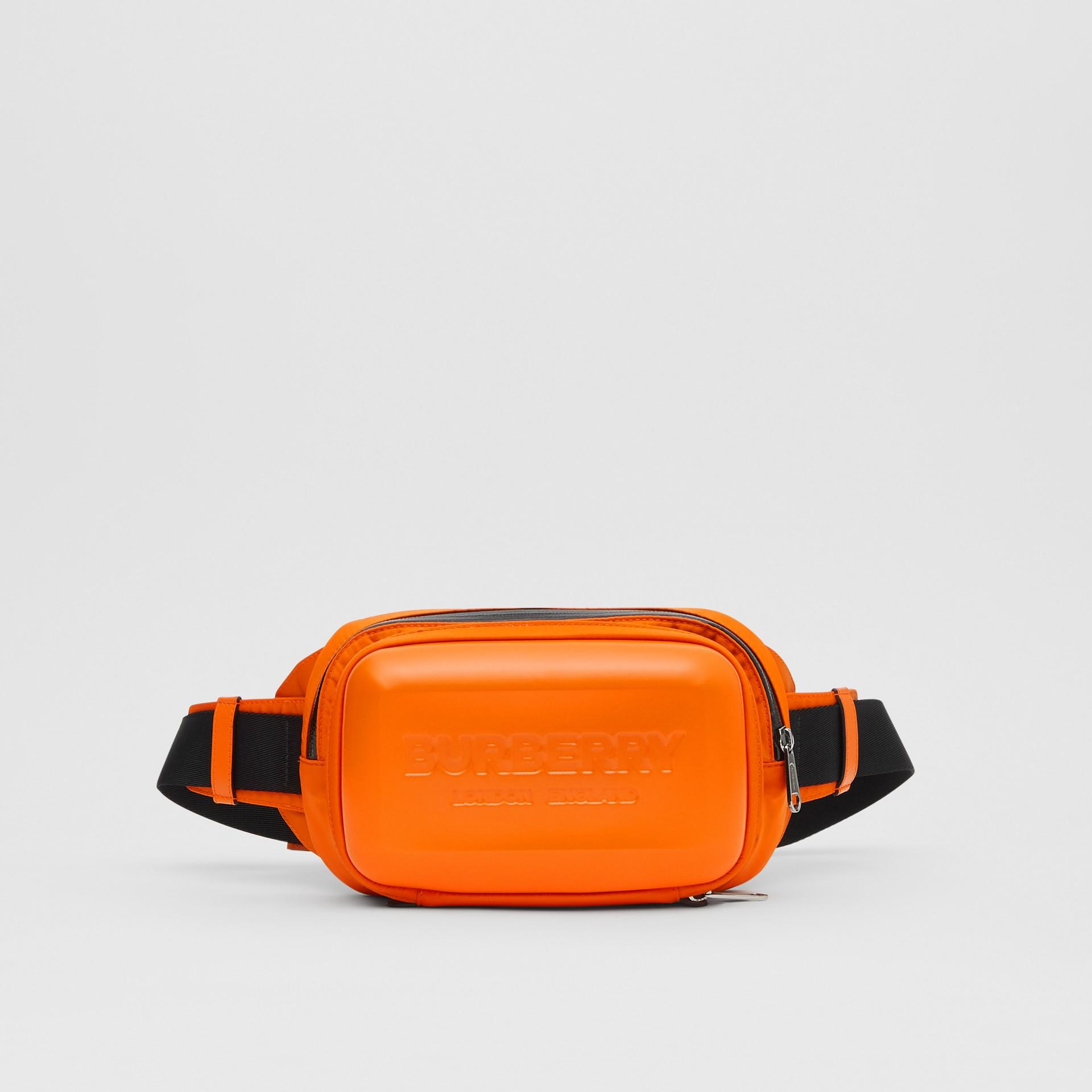 Logo Embossed Panel Nylon Bum Bag in Bright Orange - Men | Burberry United Kingdom - gallery image 0