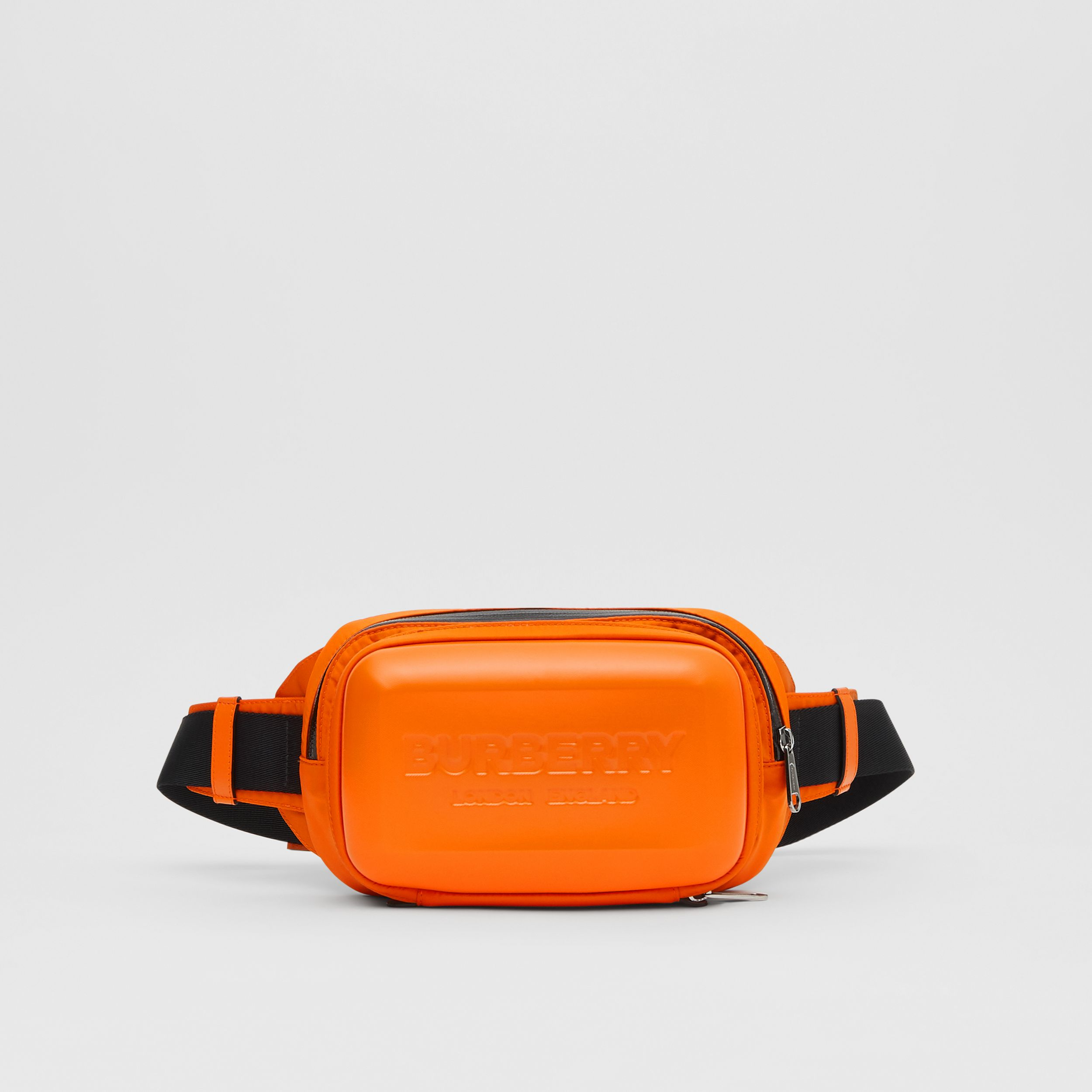 Logo Embossed Panel Nylon Bum Bag in Bright Orange | Burberry - 1